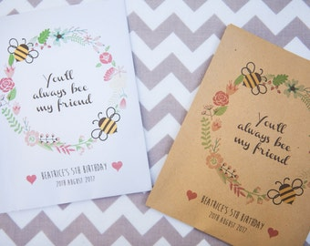 10 Bee Friendly Personalised Seed Packet Party Favours