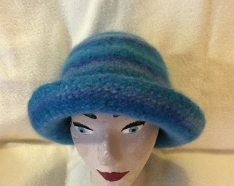 Womens blue striped wool felted hat