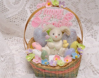 Miniature Happy Easter Basket Decoration Bunny 5 Inch OOAK