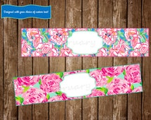 Lilly Pulitzer Water Bottle Labels, Lilly Pulitzer Decorations