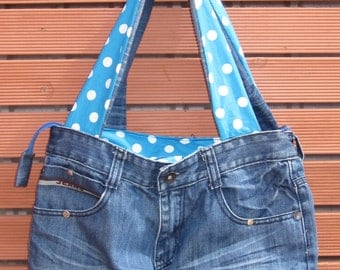 Tote Bag / Recycled Denim Tote Bag / Upcycled Denim Bag / Recycled Denim Bags