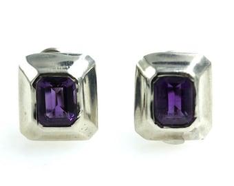 Tiffany & Company Amethyst Sterling Silver Clip Earrings
