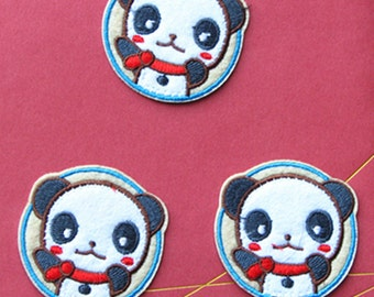 Wholesale lot 6pcs    panda  embroidered iron on patch   5.5cm 2.2inch