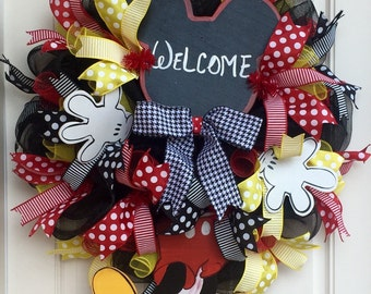 Mickey Mouse Inspired Deco Mesh Welcome Wreath, Hand Painted Mickey Mouse Inspired Decor, Front Door Wreath, Disney Inspired Decor