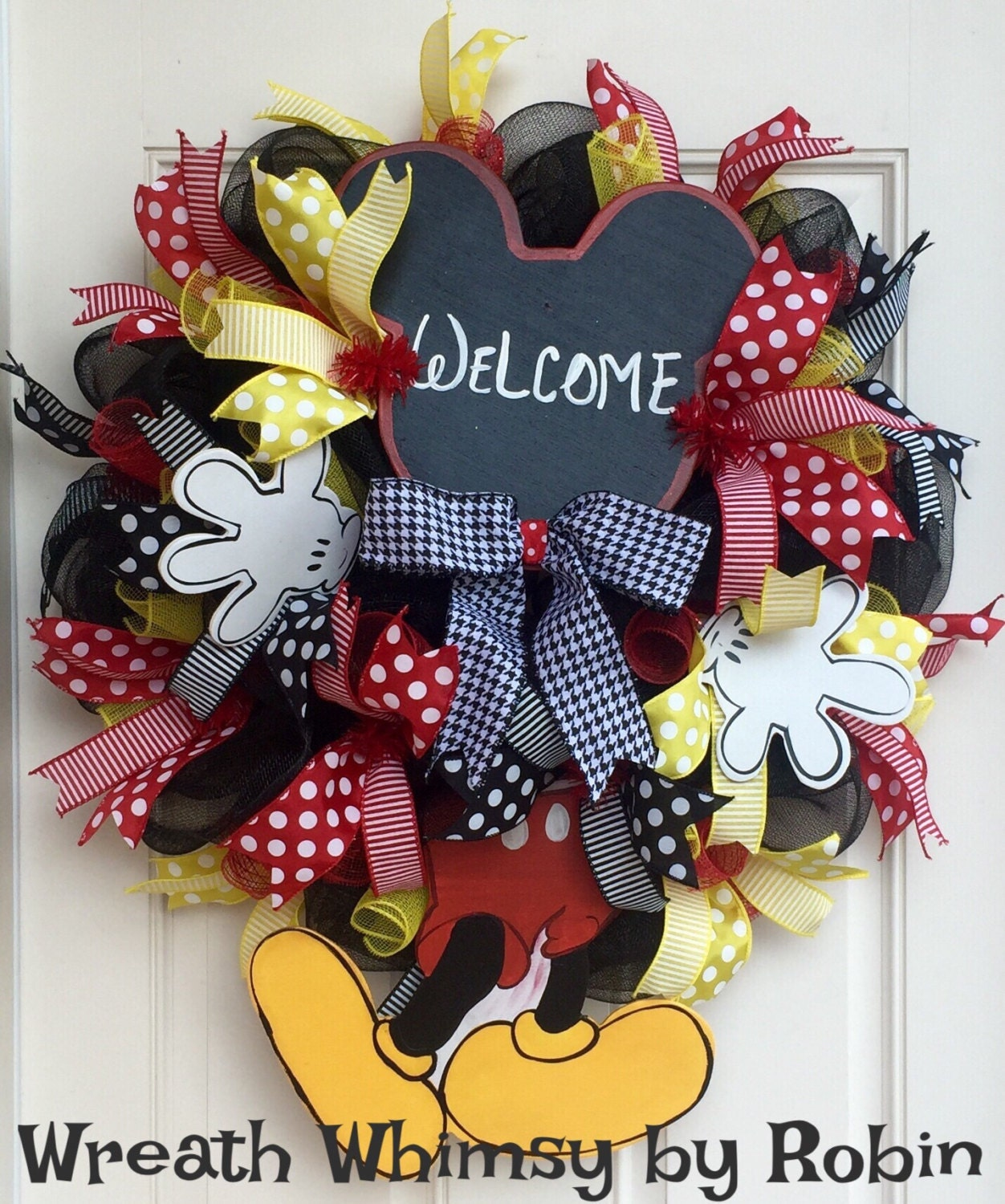 Mickey Mouse Inspired Deco Mesh Welcome Wreath Hand Painted