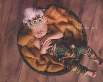 Newborn indian head dress, photo prop, costume