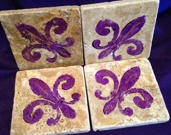 Hand stamped Purple Fleur de Lis travertine Coasters