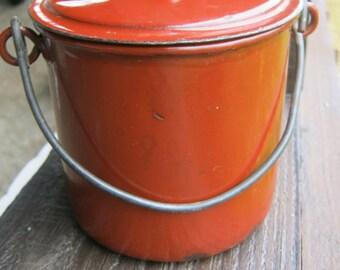 Enamel Lunch Pail, Brown Enamel, French Vintage Enamel Lidded Pot
