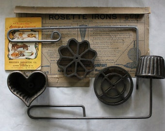 Rosette  Wafer Iron Set with Illustrated Recipe Book, Antique