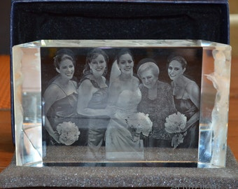3D Crystal Prism with Personalized Laser Engraving - 3 Dimensional Photo Crystal Photo