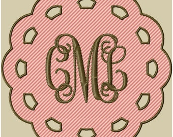 Machine Embroidery Design - lace circle monogram design - comes in 3 sizes 8x8,6x6,and 4x4