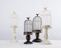 Wedding Candle Lantern/ Metal Candle Holder/ Vintage-styled Wedding Centerpiece, White and Black
