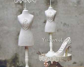 Mannequin Jewelry Display Stand, Handmade Bracelet Necklace Ring Holder, Fabric and Wood -(ETA060)
