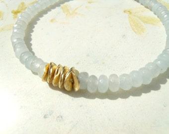 Aquamarine bracelet ice blue gold