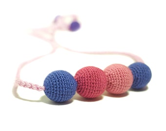 Pink and violet necklace / Four beads neckalce / Crocheted beaded necklace / Nursing necklace / Summer necklace / Necklace for a girl