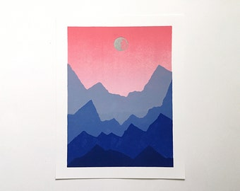 11x14 Letterpress Print - Ombre Sky Over Blue Mountains