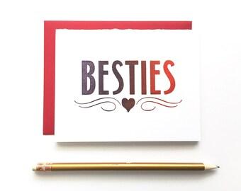 Letterpress Card - Besties Ombre