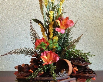 Forest Inspired Flower Arrangement in Handmade Wood Container