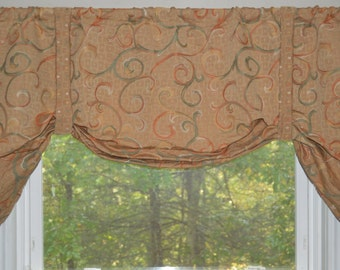 Window Treatment, Tie up Valance, Swag Valance, tie up valance, teal, orange, tan valance, swirl valance