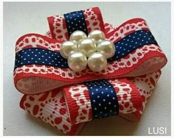 LUSI grosgrain ribbons and pearls brooch