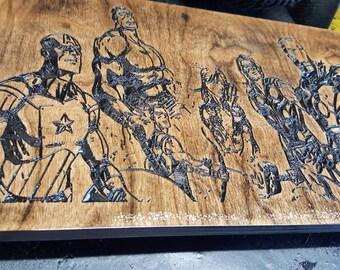Marvels Avengers Custom Wooden Wall Art 10X18