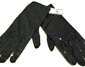 Sequin Hand Gloves BLACK One Pair Costume