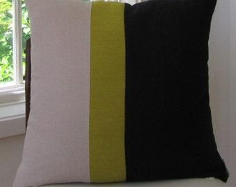 Kravet Black/Natural/Chartruese Linen Pillow Cover