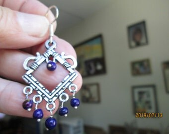 Vintage Tibetan Silver Purple Beads Chandelier Dangle 925 Ear Wires Earrings, Dangle 2 Inches Long, 2.9 Grams