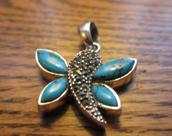 Handcrafted Artisan 2.75ctw Genuine Turquoise & Marcasite 925 Sterling Silver Butterfly Pendant, Wt. 7.7g