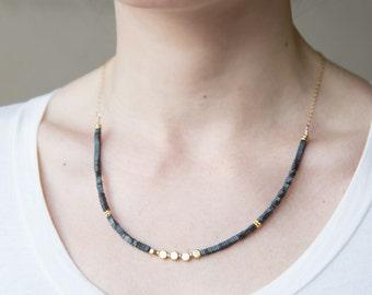 Steel Grey Hematite Brass Beaded Necklace