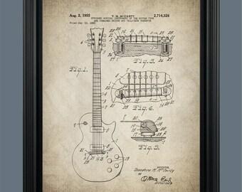 Gibson Les Paul Guitar Patent Print Poster - Gibson Guitar - Guitar Patent -  Guitar Poster Art - Electric Guitar - Musician Gift - #087