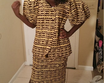 African print skirt suit.