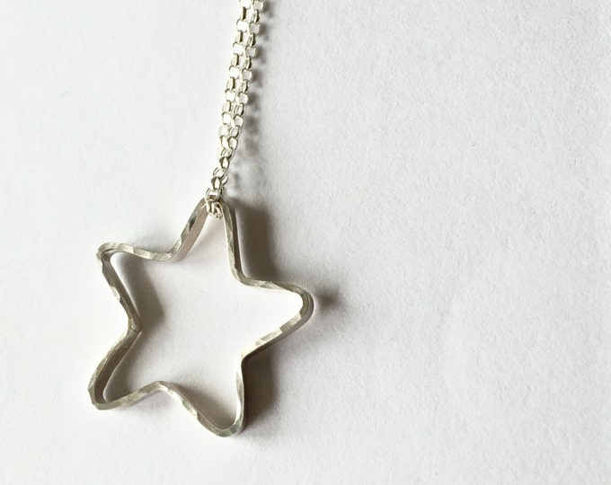 Silver Star Necklace -  Star Pendant - Hammer Textured - Handmade in the UK - Recycled Sterling Silver