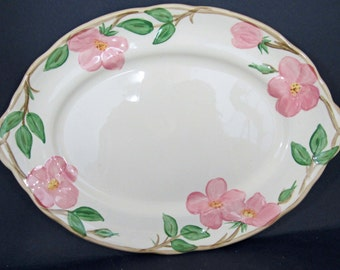 "Vintage Franciscan Ware Desert Rose Large Oval Serving Platter 14"" x 10"" Perfect Condition"