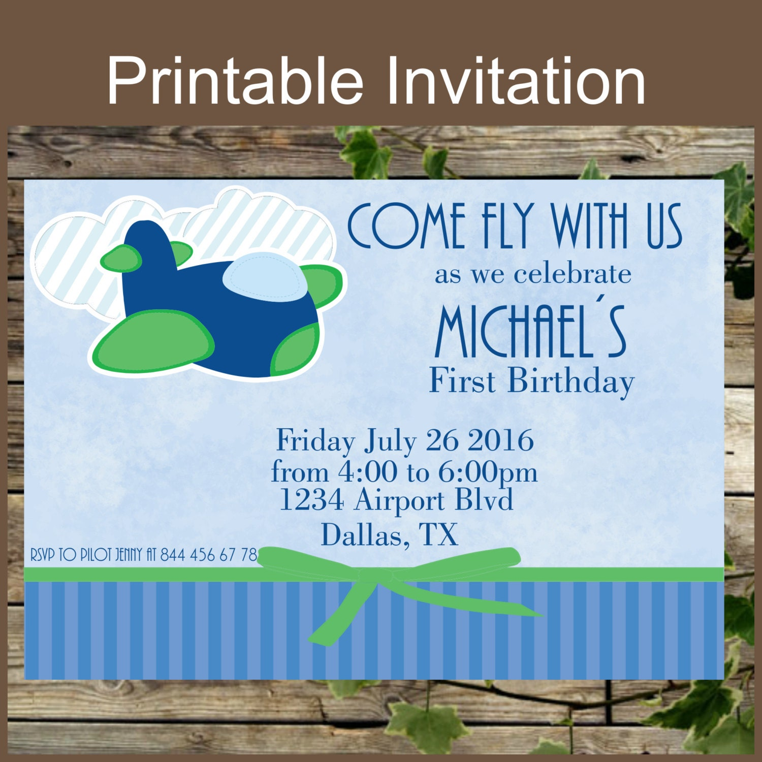First Birthday Party Invitation Printable Airplane First