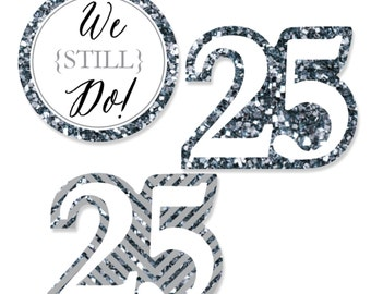 24 pc. Small We Still Do - 25th Wedding Anniversary Shaped Paper Cut Outs - Anniversary Die Cut Party Decoration Kit