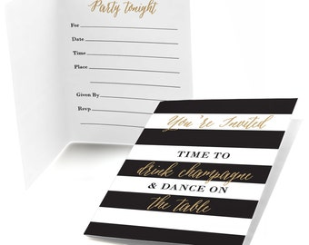 12 New Year's Eve - Gold Party Invitations - Personalized New Year's Eve Party Invites