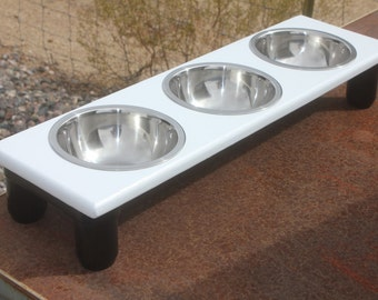 Black and White Modern, Triple SMALL Raised Dog Bowls, 3-3/4 Quart, Elevated Cat Dish, 3.5to6 inches Tall, Made to Order, Blk&/orWht Version