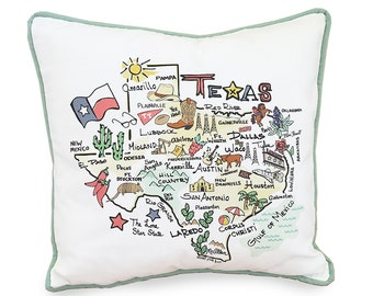 """Texas Pillow Cover, 18""""x18"""", Includes your favorite Texas landmarks. Envelope Closure at Back. Perfect gift!"""