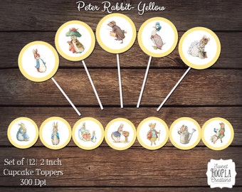 Vintage Peter Rabbit Cupcake Toppers- Yellow! INSTANT DIGITAL DOWNLOAD!!