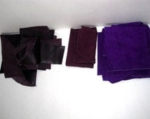 Lot of 9 oz Leather and Suede Scraps - Genuine Leather - New and Upcycled - Soft Thin - Purple - Eggplant - Violet - Crafts - Projects