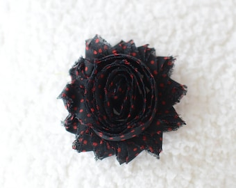 2.5 Shabby Chiffon Flowers Wholesale, Printed Flowers for Infant Headbands, By the yard, 1/2 yard or 2 flowers, Black with Red Polka Dots