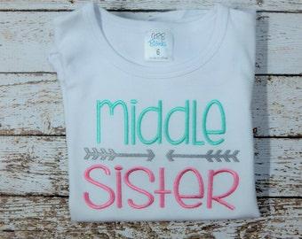 MIDDLE SISTER shirt, Big Sister shirt, Little Sister shirt, Shirts for sisters