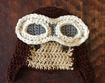 Little Aviator Hat - crochet newborn baby child adult