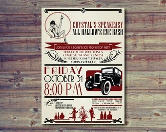 1920's Theme Party Invitation, Vintage, Prohibition, Flappers and Gangsters Invitation