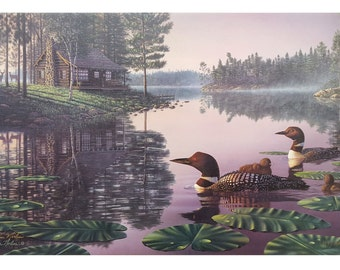 Northern Tranquility By Kim Norlien Limited Edition Canvas Framed Loons