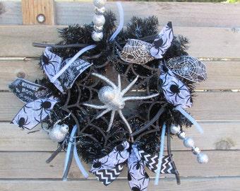"""18"""" Halloween Wreath Spider Wreath Spider Web Wreath Black Silver Wreath Spider Door Decor Halloween Door Decor Halloween Decor Spider Decor"""