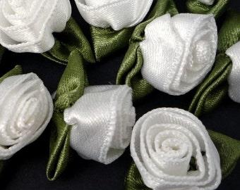 50 pcs White Satin Flower Appliques 1.2cm width - best for  decoration C87