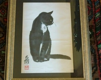 Beautiful Rare Vintage Japanese Cat lithograph by Da Wei Kwo - Copyright 1958 Kwo Art Studio New York City
