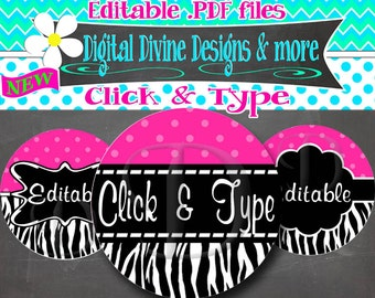 Trendy Pink Polka Dot Zebra Editable .PDF - 1 inch round digital graphics - Instant Download